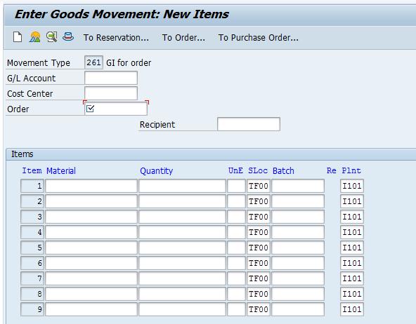 Goods Movement: New item