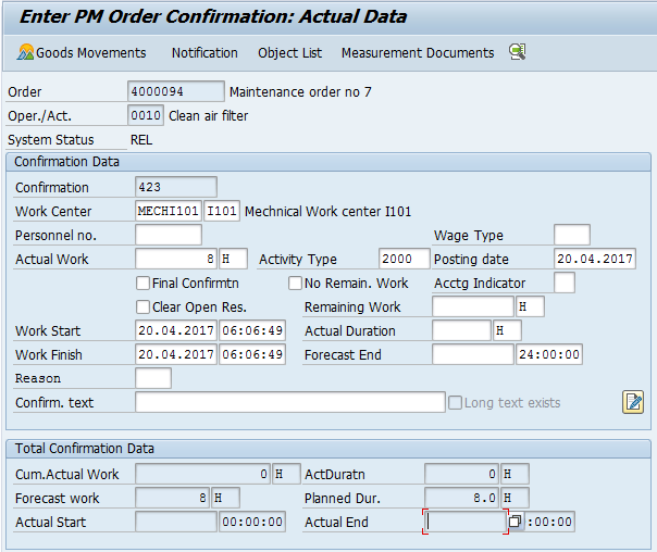 SAP PM Order Confirmation – Actual Data