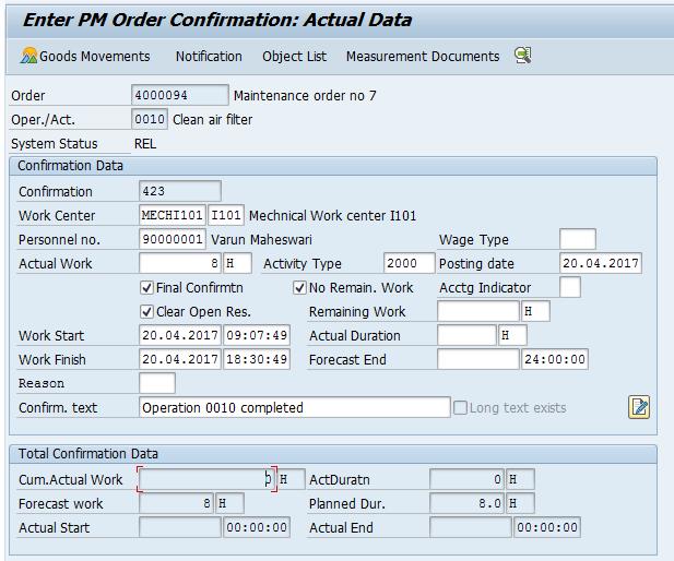 Actual Data (Sample Input)