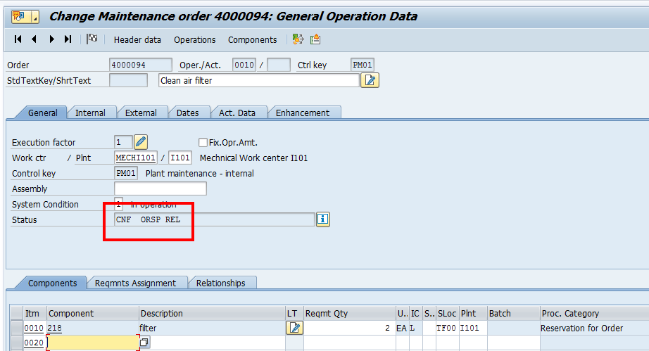 SAP Plant Maintenance Order: Operations Overview