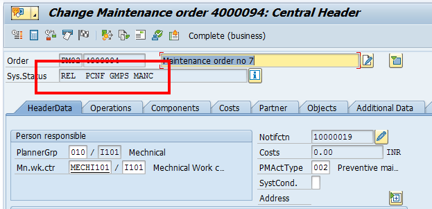 SAP Plant Maintenance Order: Header Data