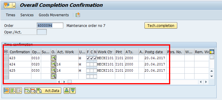 SAP Overall Confirmation – List of Operations