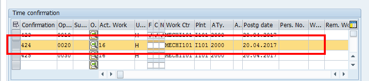 SAP Overall Confirmation – An Operation
