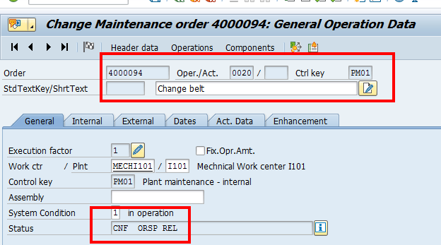 Change SAP Maintenance Order: Operations Overview