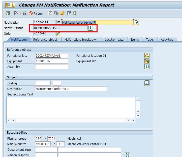 SAP Plant Maintenance Notification: Header Data