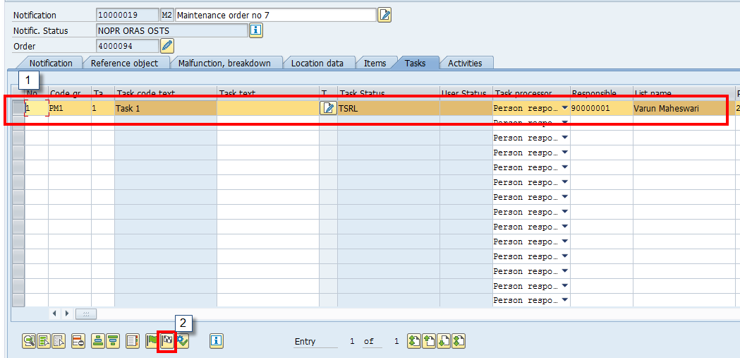 SAP Plant Maintenance Notification: Complete a Task