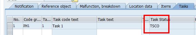 SAP Plant Maintenance Notification: Task Status