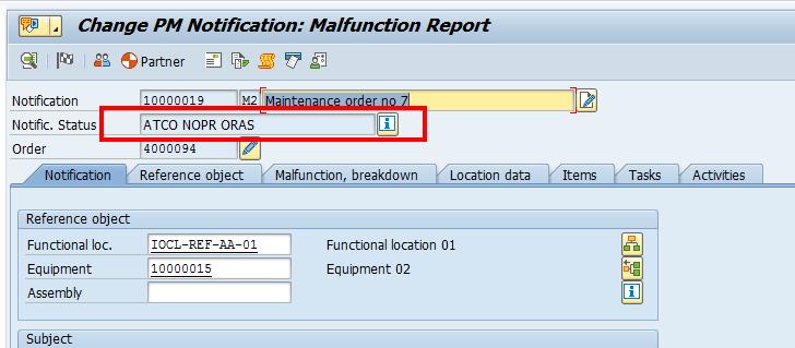 SAP Plant Maintenance Notification: Status Overview