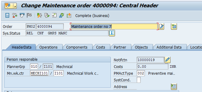 SAP Plant Maintenance Order – Central Header