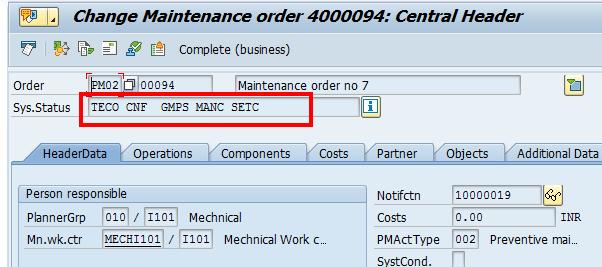 SAP Plant Maintenance Order: Status Overview