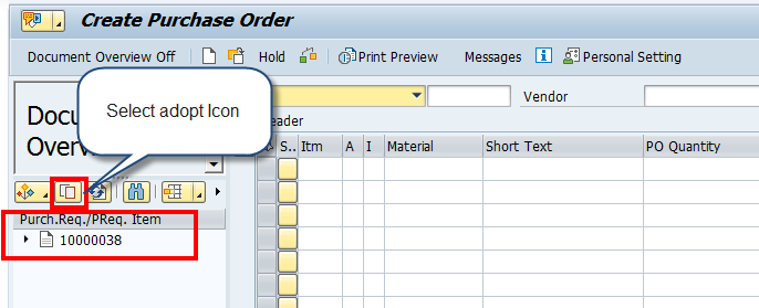 Create SAP Purchase Order – Adopt Data from Purchase Requisition