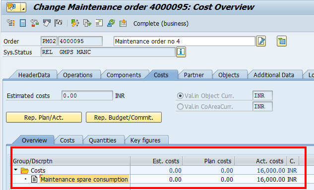 Change Maintenance Order: Costs Tab