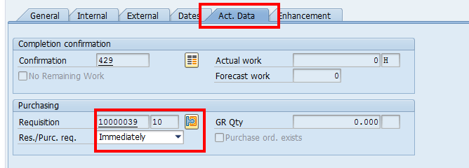 Create SAP Maintenance Order: Purchase Requisition Number