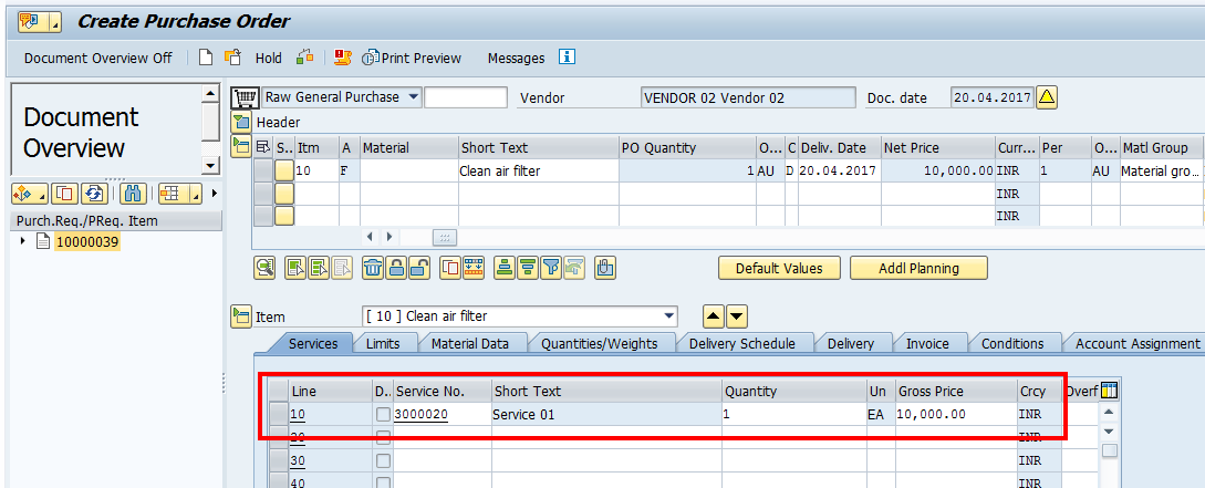 Create SAP Purchase Order