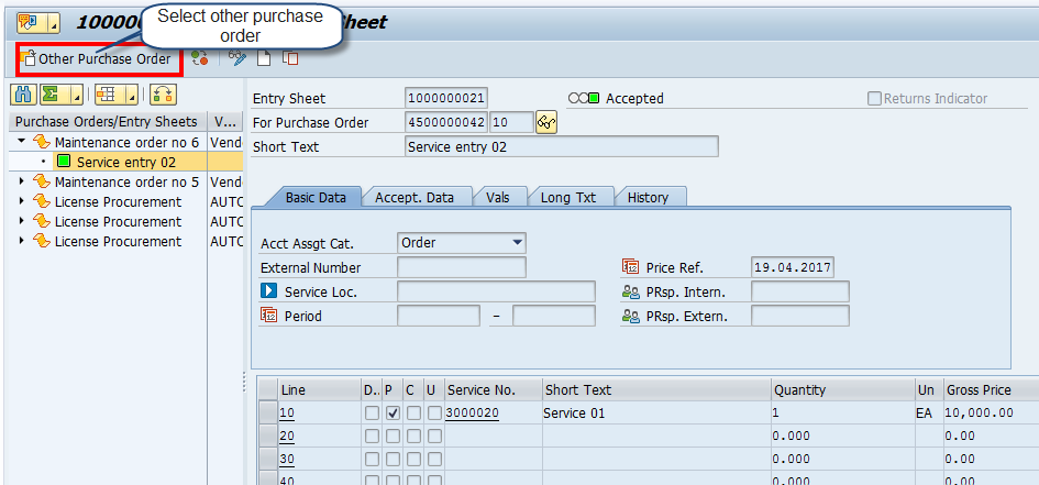 Service Entry Sheet – Initial Screen