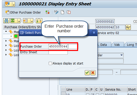 Service Entry Sheet – Select Purchase Order