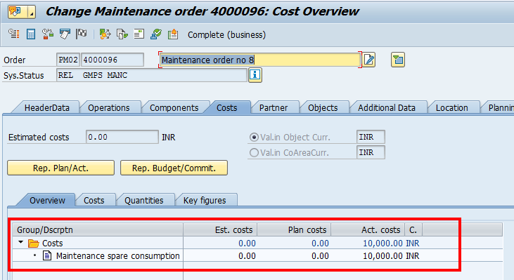 Maintenance Order – Costs Tab