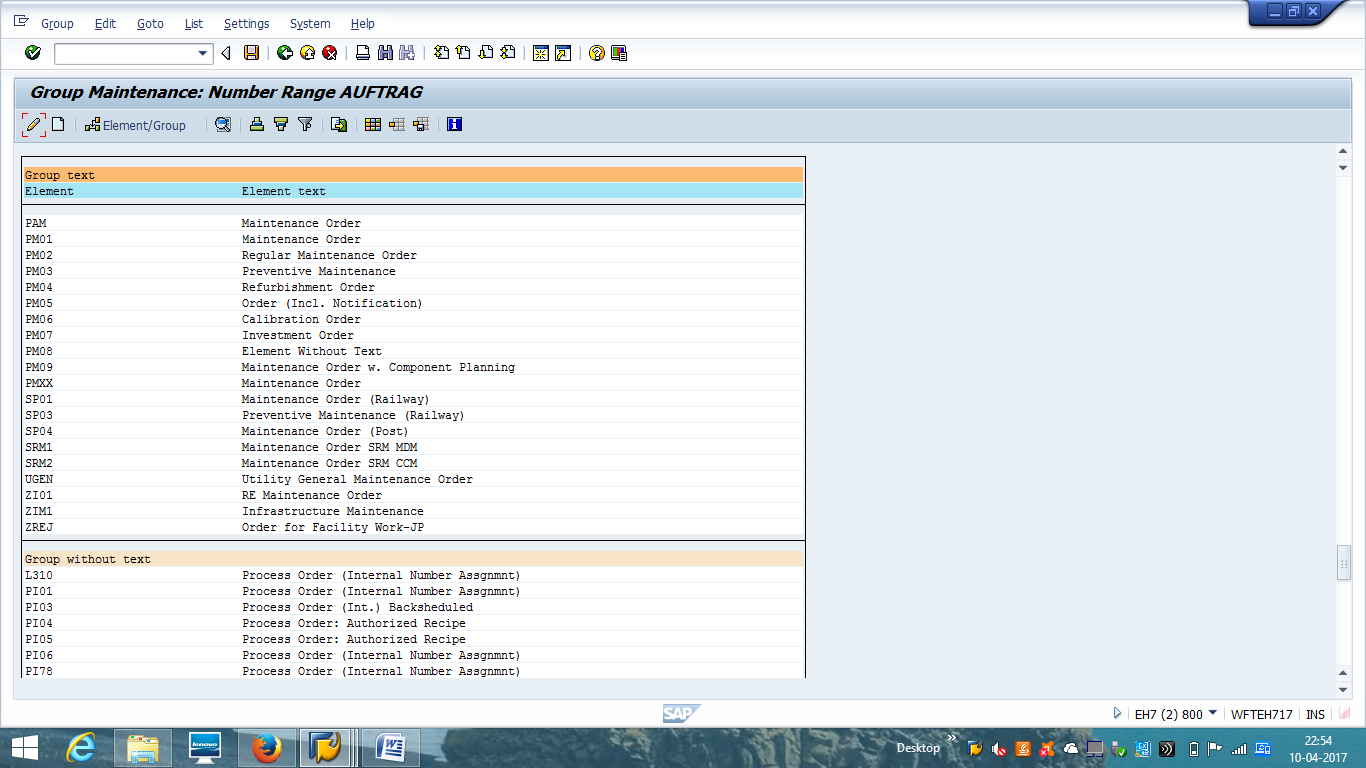 SAP Maintenance Order Number Range Configuration