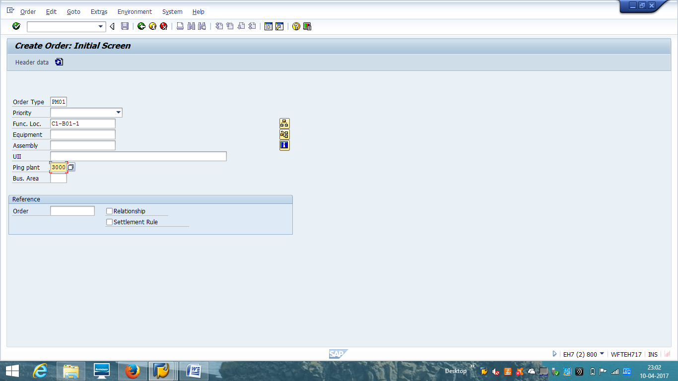 Create SAP PM Order – Initial Screen
