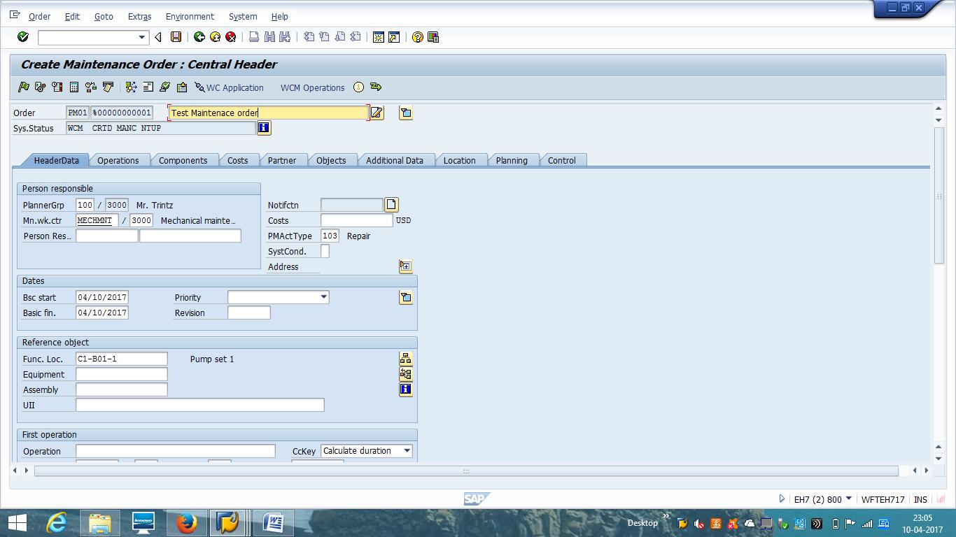 Create SAP PM Order - Header Data