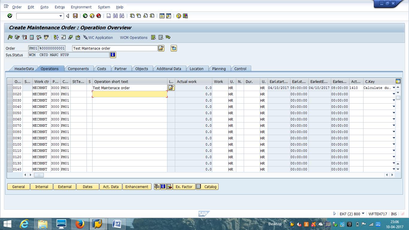 Create SAP PM Order - Operation Details