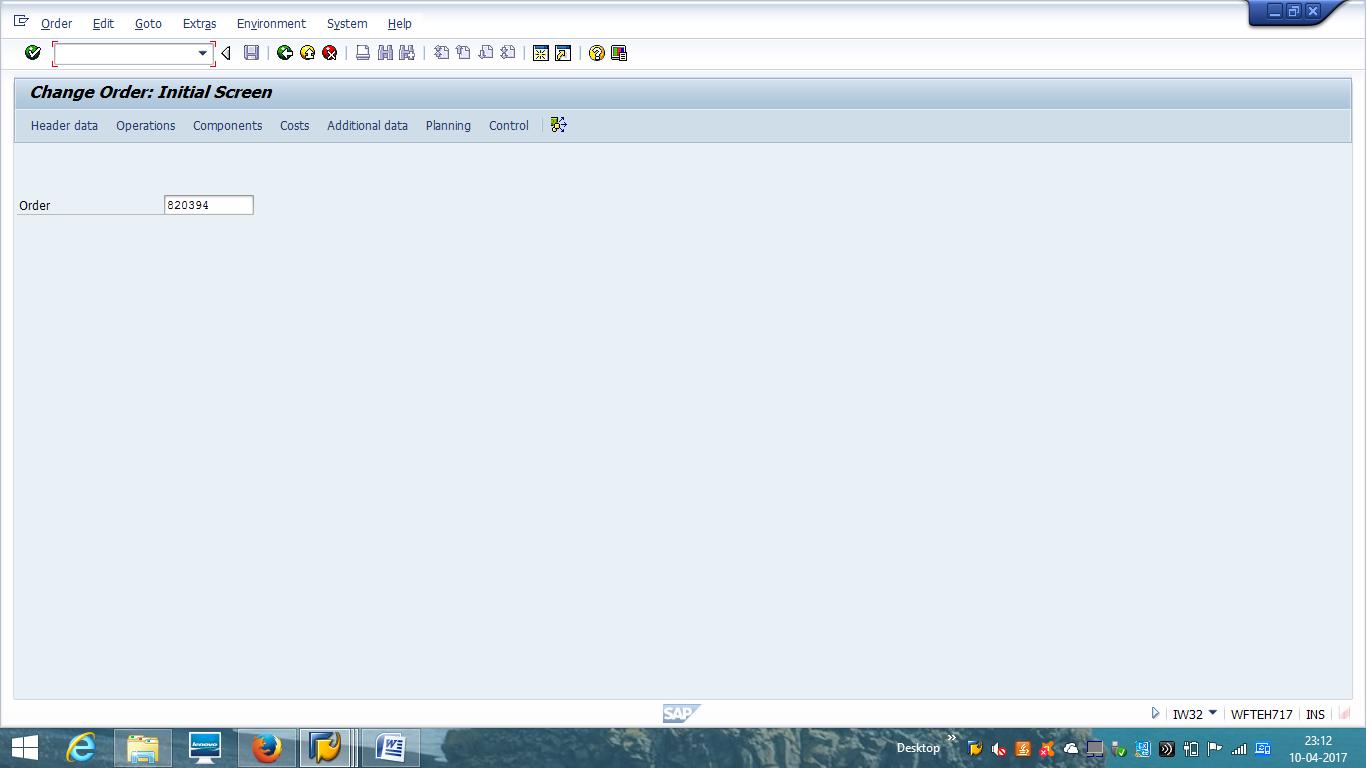 Change SAP Maintenance Order – Initial Screen