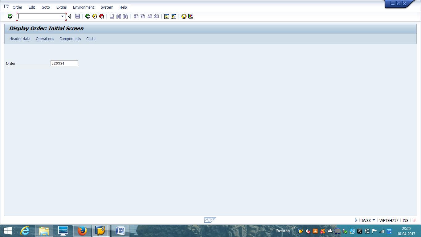 Display SAP Maintenance Order