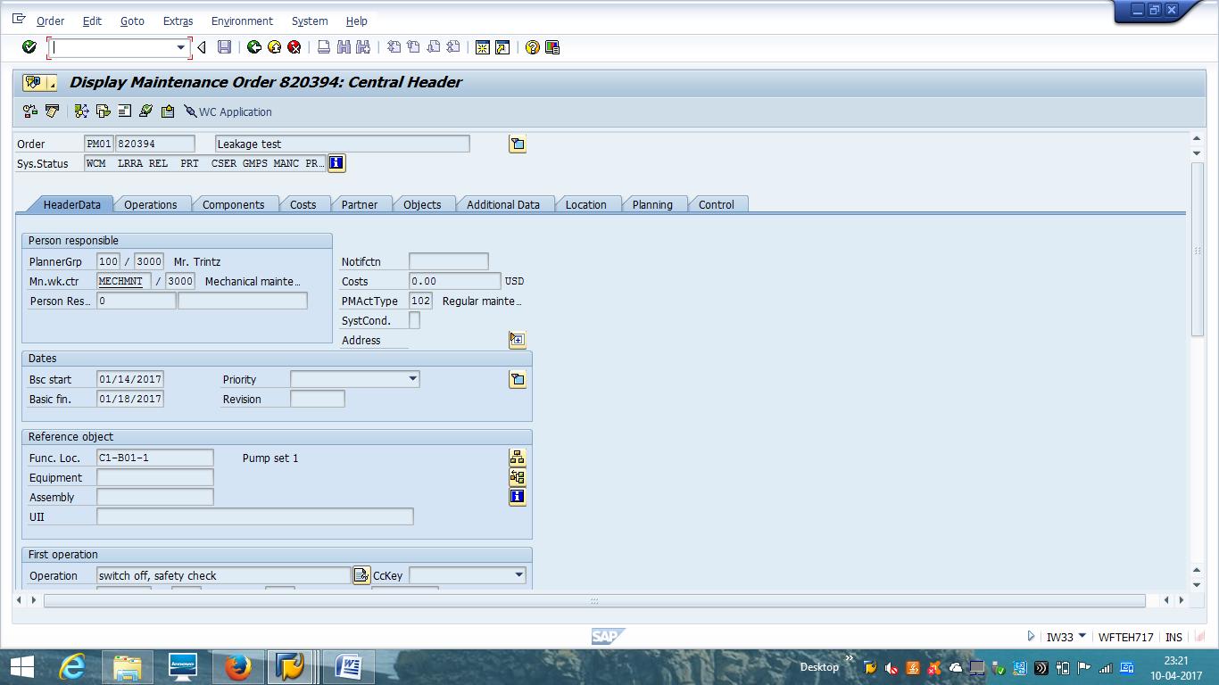 Display Maintenance Order - Header Data