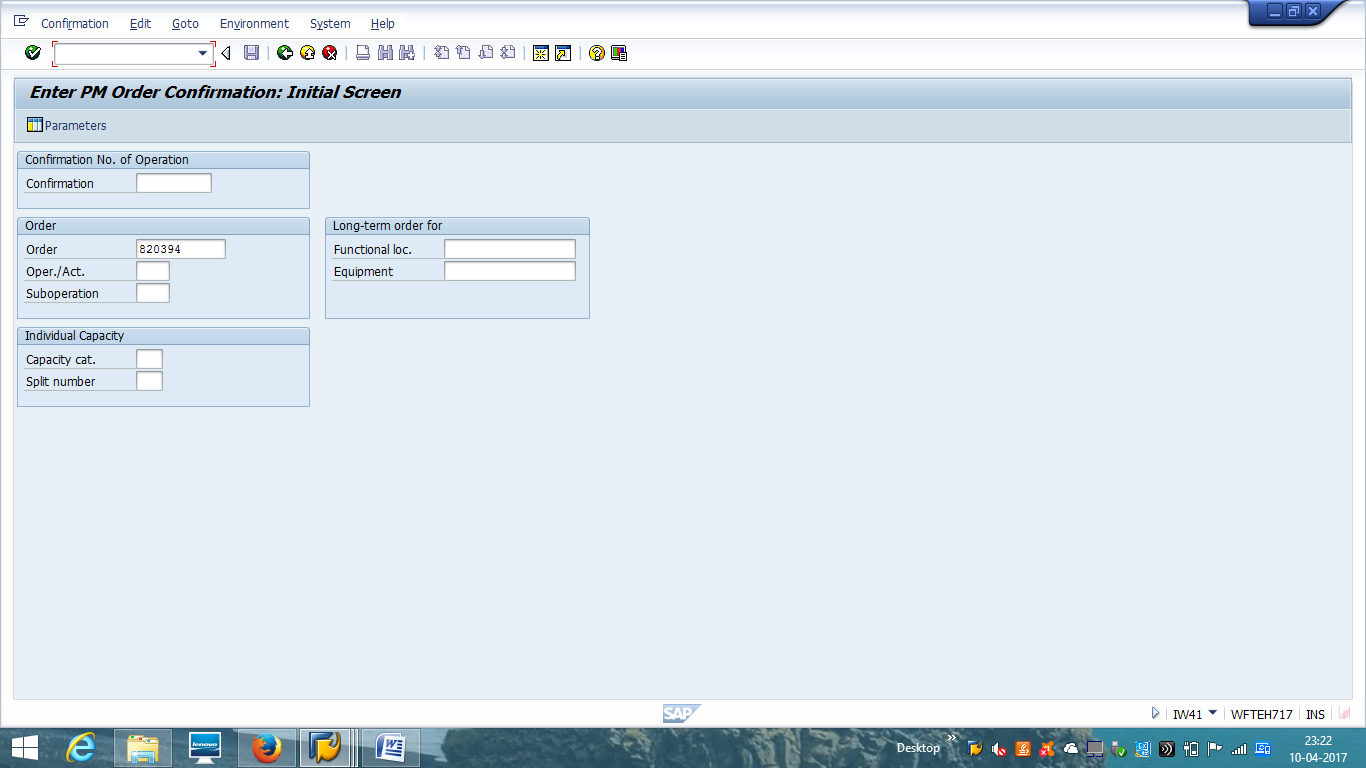 SAP PM Order Confirmation - Initial Screen