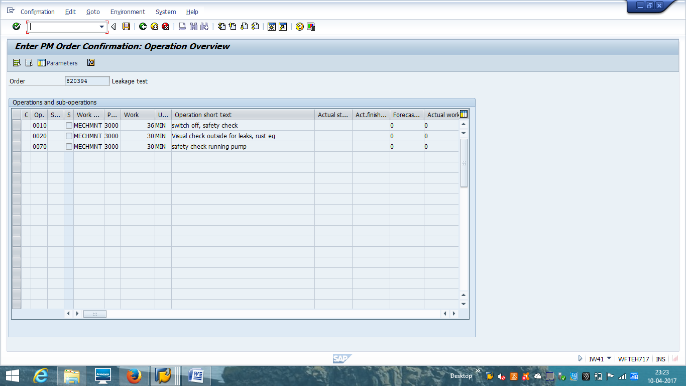 SAP PM Order Confirmation - Operation Selection