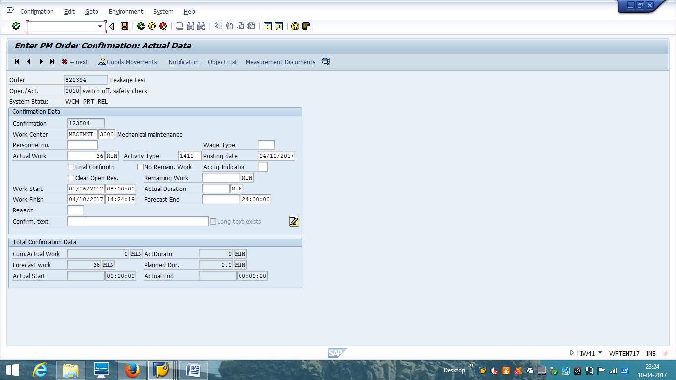 SAP PM Order Confirmation – Actual Data