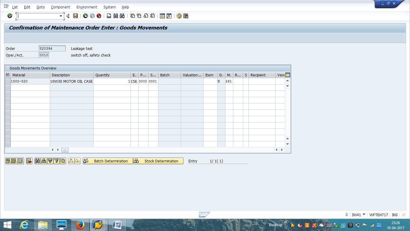 SAP PM Order Confirmation - Goods Movements