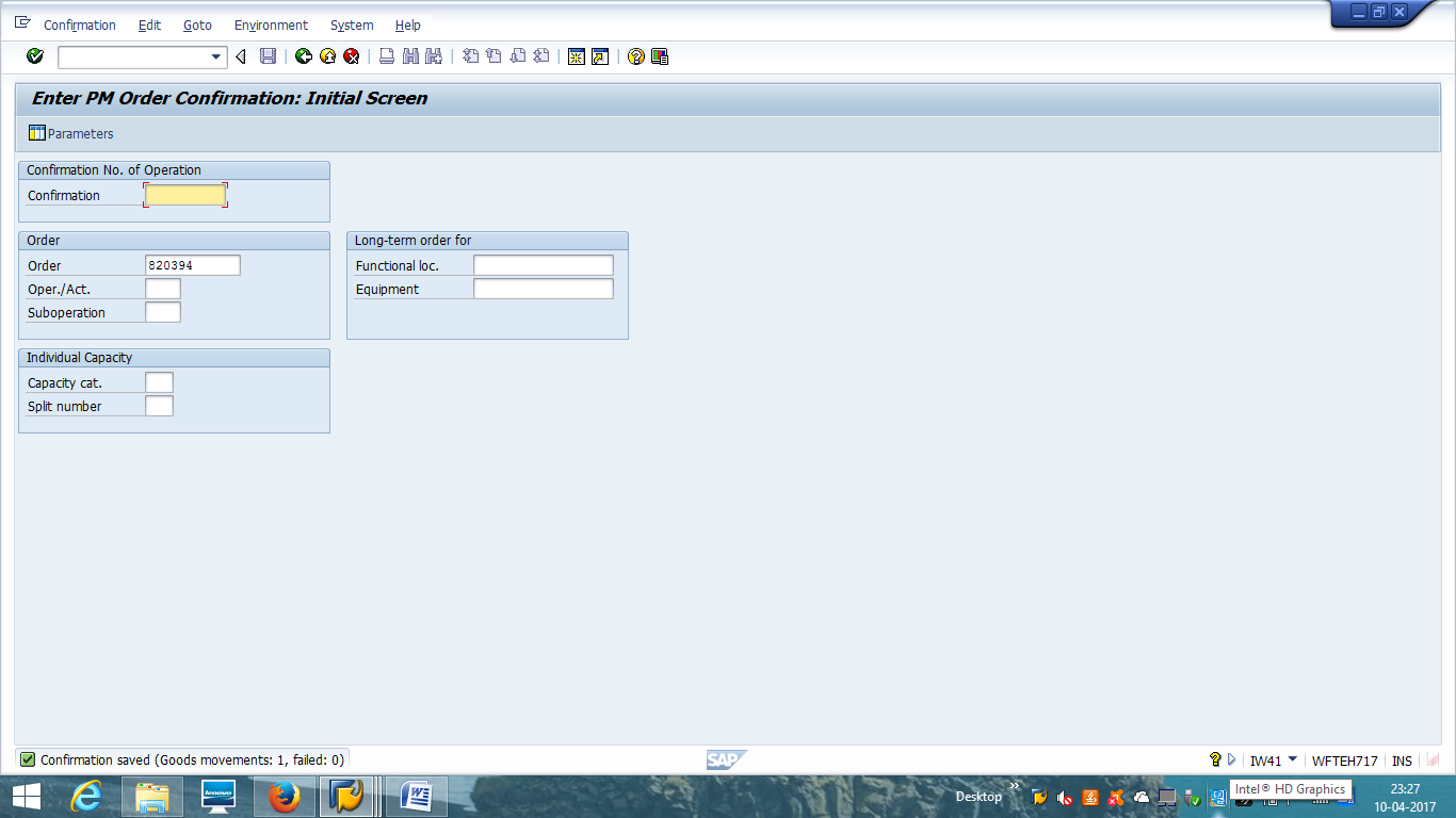 SAP PM Order Confirmation - Success with Goods Movement