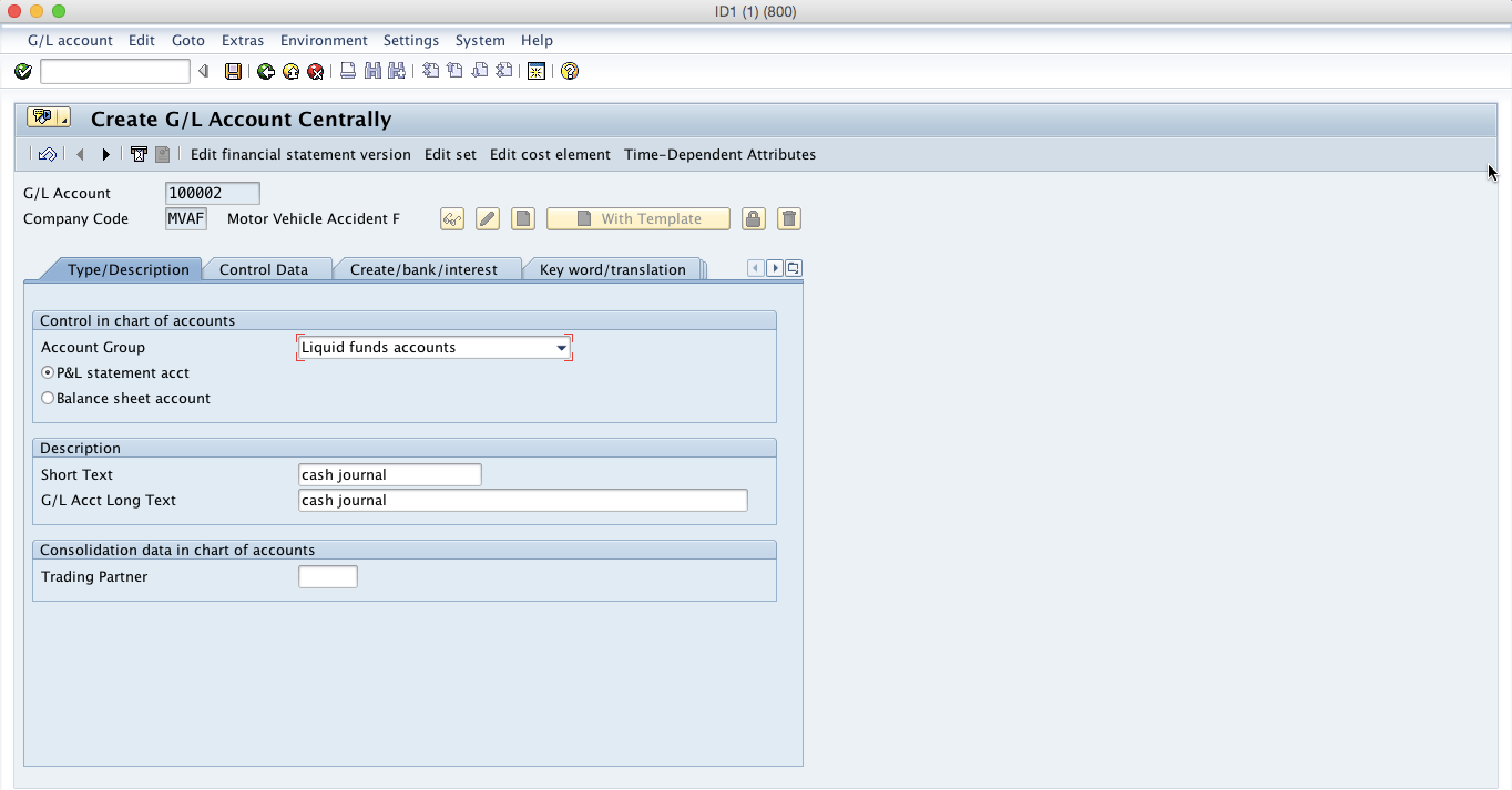 Create General Ledger Account for SAP Cash Journal