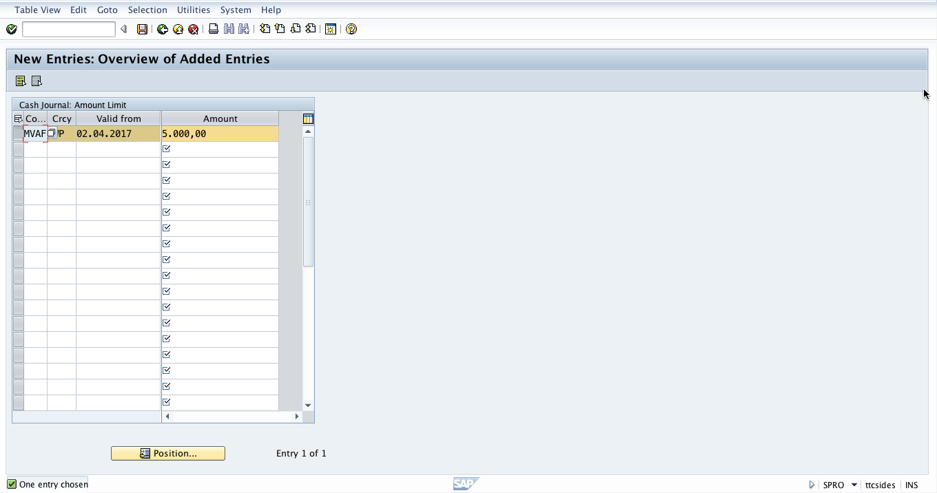 Configuration of SAP Cash Journal Amount Limit