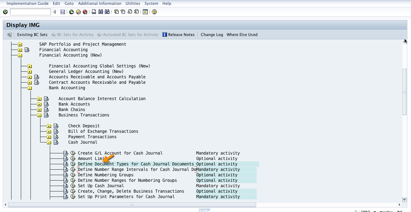 Menu path to Define Document Types for SAP Cash Journal in SPRO Transaction
