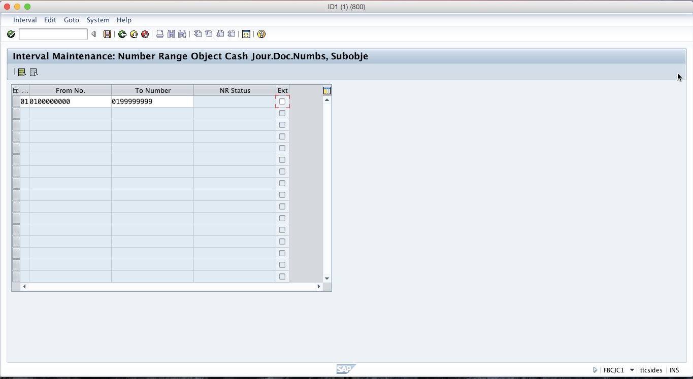 How to Create a Number Range for SAP Cash Journal