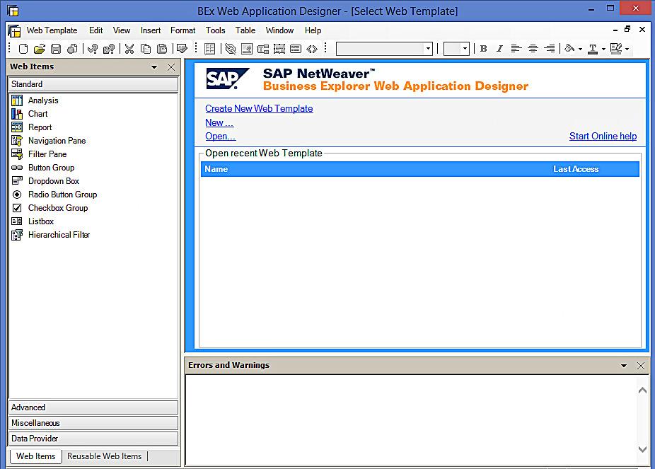 SAP BEx Web Application Designer (WAD)