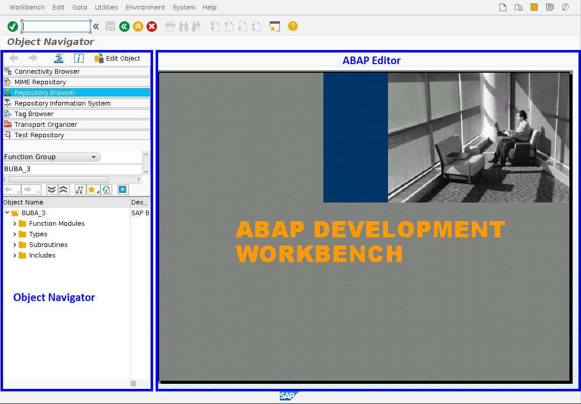 Main ABAP Workbench Window with Object Navigator and ABAP Editor Areas