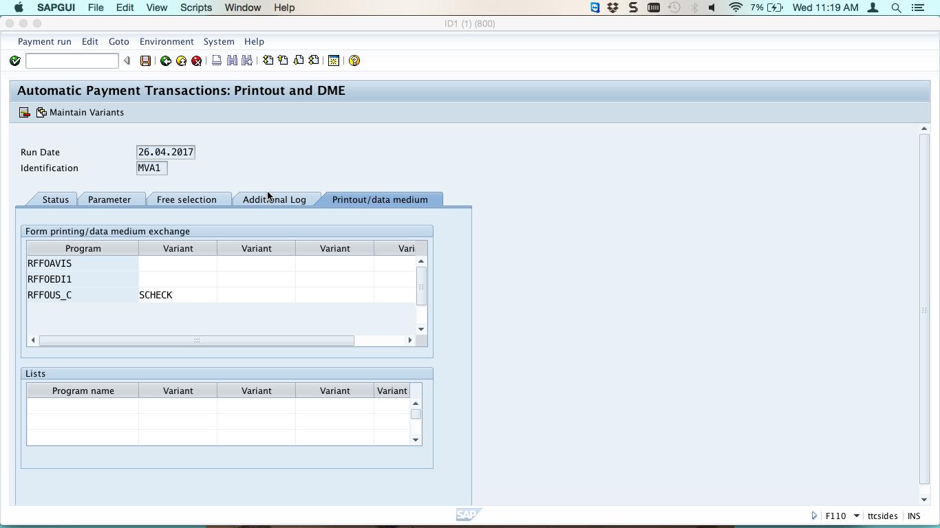 Printout/Data Medium Tab Page