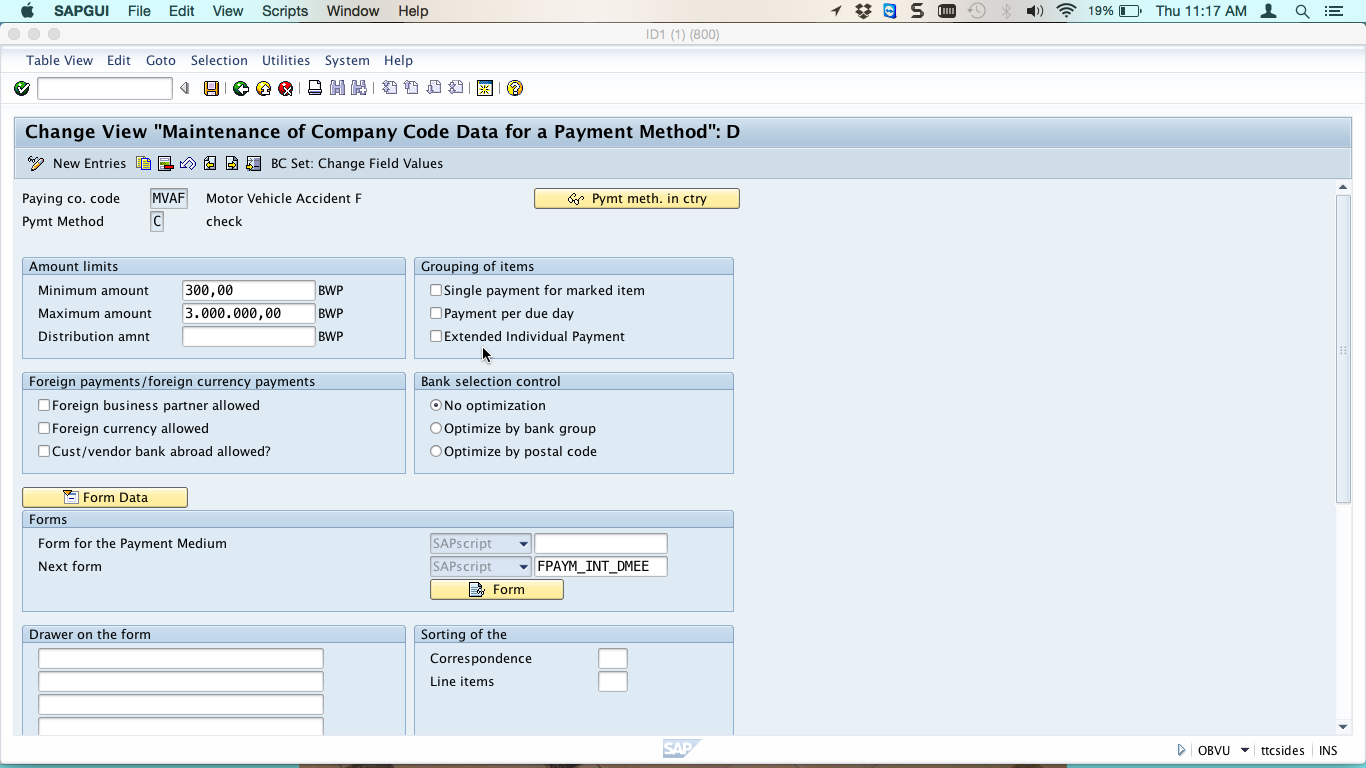 Change View for Payment Methods in Company Code