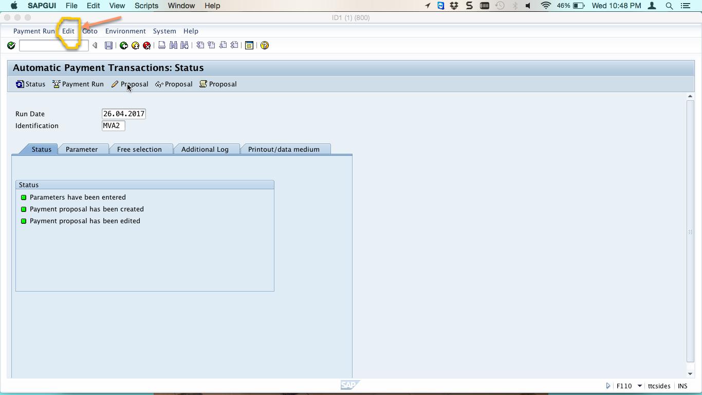 Payment Proposal Status Screen – Edit Menu