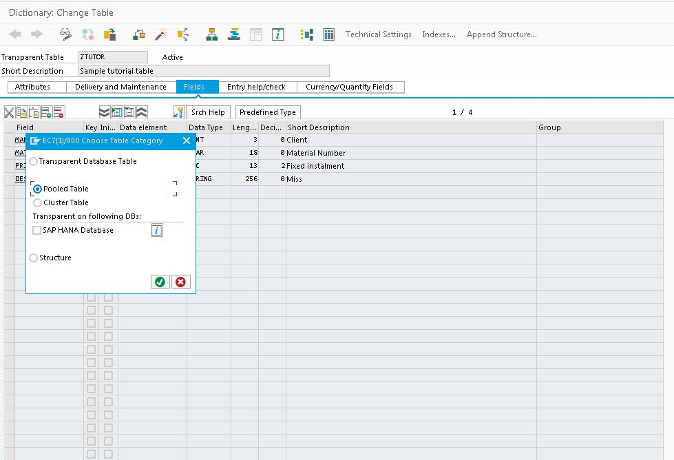 Change SAP Table Type Window