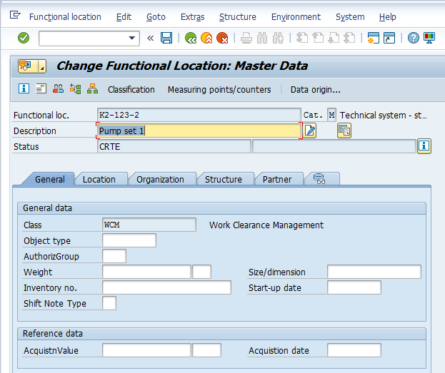 Change SAP Functional Location