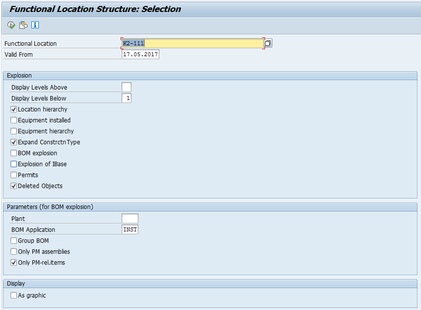 SAP Functional Location Structure: Input Selection Screen