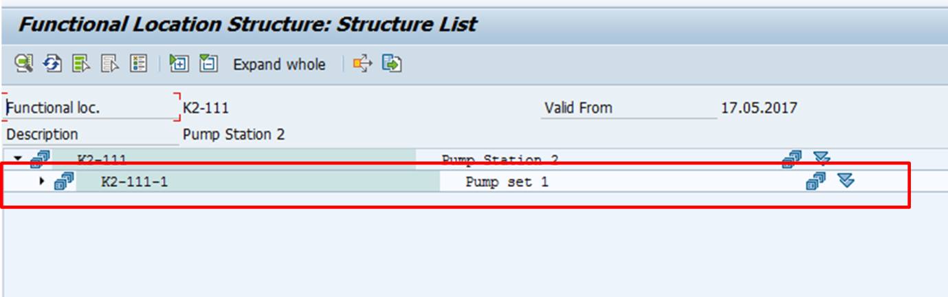 SAP Functional Location Structure: Output