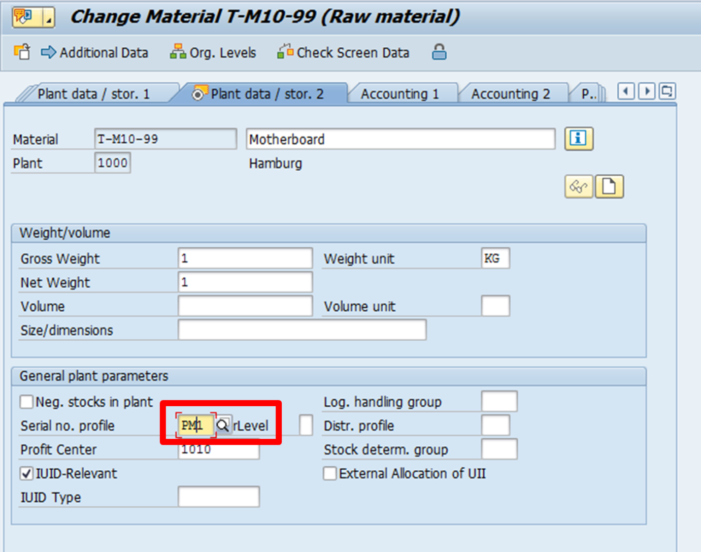 SAP Material Master: Enter Serial Number Profile