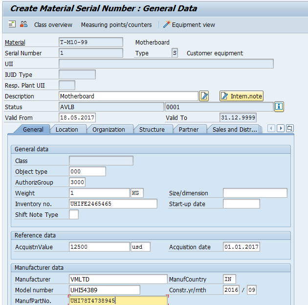 Create Material Serial Number: Equipment View