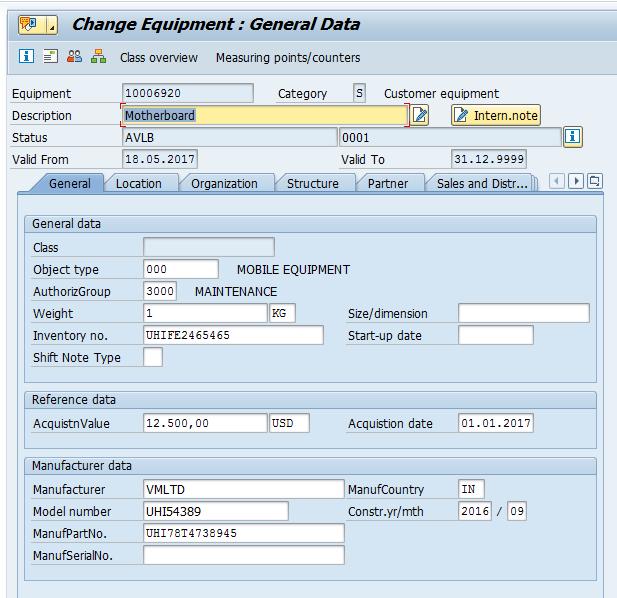 Change Equipment: General Tab