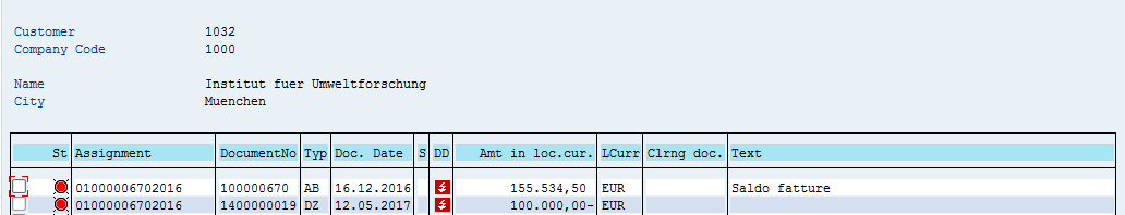 SAP Customer Open Items – After Partial Payment